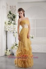 Rolling Flowers Gold Organza Lace Graduation Dress