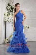 One Shoulder Mermaid Crisscross Prom Dress Ruffled