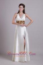 Front Slit V-neck White Evening Dress Sashed
