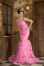 Mermaid Pink Hand Made Flower Ruffled Prom Dress