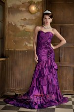 Purple Mermaid Taffeta Ruffled Strapless Prom Dress
