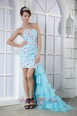 High Low Blue One Shoulder Prom Dress Side Train