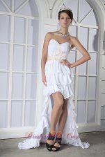 High-low White Ruffled Chiffon Beading Prom Dress