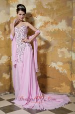 Pink Empire Brush Train Chiffon Beading Prom Evening Dress