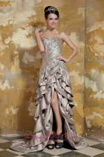 High-low Champagne Taffeta Sequined Pageant Dress