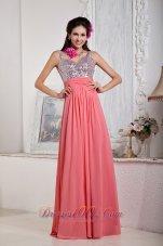 Watermelon Spaghetti Straps Chiffon Sequined Prom Dress