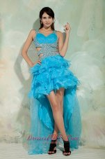 High Low Sky Blue Ruffled Prom Dress Organza Beading