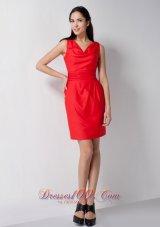 Red Column Wide Straps V-neck Short Bridesmaid Dress