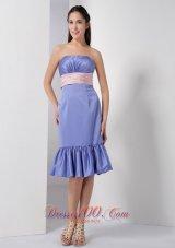 Lilac Column Bridesmaid Dress Belt Ruch Knee-length