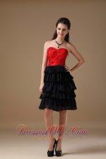 Red Taffeta and Black Chiffon Short Prom Dress