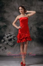 Red Column Cocktail Dress Bow Ruch Mini
