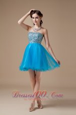 Teal A-line Cocktail Dress Colorful Beading