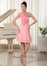 Flowers Besiged One Shoulder and Bust Homecoming Dress