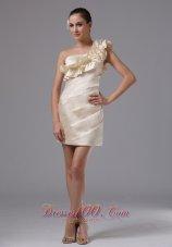Champagne Floral One Shoulder Flowers Short Prom Graduation Dress