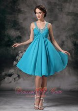 Empire V-neck Beaded Straps Prom Homecoming Dress