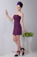 Purple Column Mini Ruch Prom / Homecoming Dress