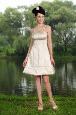 Spaghetti Straps Knee-length Beading Prom Homecoming Dress
