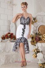 Black and White Mermaid Tea-length Prom Dress