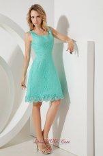 Turquoise Lace Princess Square Straps Bridesmaid Dress