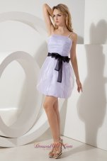 Spaghetti Straps Black Waistband Prom Homecoming Dress