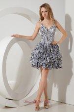 Straps Zebra Print Short Prom / Homecoming Dress