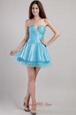 Aqua Mini Beading and Sequins Prom / Cocktail Dress
