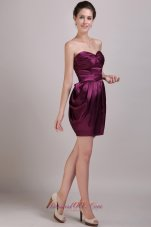 Burgundy Column Prom Cocktail Dress Ruch Sweetheart