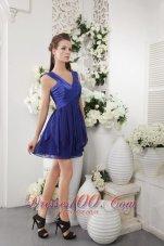Navy Empire V-neck Short Ruch Bridesmaid Dress