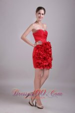 Red Petals Besiged Sheath Beading Prom Dress