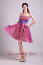 A-line Short Organza and Leopard Prom Homecoming Dress