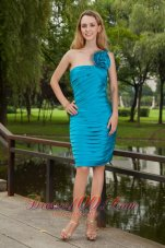 Turquiose Flower One Shoulder Prom Homecoming Dress