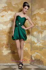 Dark Green Column Bow Mini Beading Prom Dress