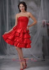 A-line Knee-length Ruffled Layers Ruffles Homecoming Dress