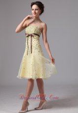 Sash Knee-length Beaded Prom Dress For Prom Party