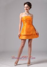 Orange Ruch Satin Mini-length Club Cocktail Dress