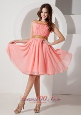 Watermelon Gold Neck and Waistband Bateau Graduation Dress
