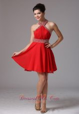 Beaded Halter and Belt Ruch Stylish Prom Dress Mini