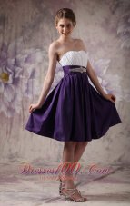 White and Purple A-line Beading Ruch Prom Homecoming Dress