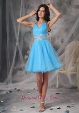 Aqua A-line Straps V-neck Beading Prom Cocktail Dress