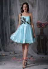 Aqua A-line One Shoulder Mini Appliques Prom Dress