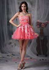 Watermelon A-line Mini White Appliques Prom Graduation Dress