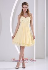 Beige Beaded Knee-length Homecoming Cocktail Dress