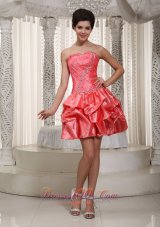 Taffeta Watermelon Pick-ups Mini-length Cocktail Dress