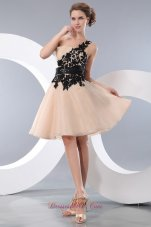 Appliques Covered Champagne Organza Knee-length Prom Graduation Dress