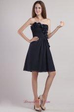 Black Mini-length Appliques Chiffon Homecoming Dress