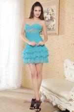 Mini-length Aqua Blue Beading Prom Graduation Dress Layered