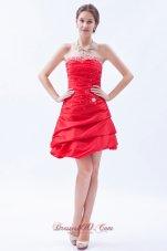 Red Taffeta Prom Dress Mini-length Strapless Beaded
