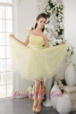 Organza Knee-length Cocktail Dress Beads Light Yellow