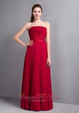 Strapless Wine Red Bridesmaid Dress with Pleats
