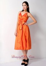 Spaghetti Straps Orange Tea-length Bow Bridesmaid Dress